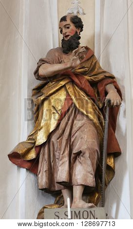 ELLWANGEN, GERMANY - MAY 07: Saint Simon the Apostle, Basilica of St. Vitus in Ellwangen, Germany on May 07, 2014.