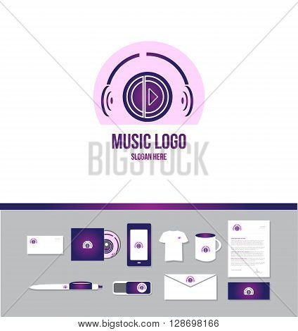 Corporate identity vector company logo icon element template music production play button headphones sound