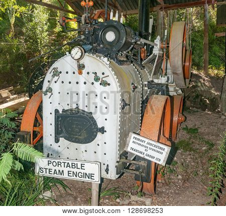 MILLWOOD SOUTH AFRICA - MARCH 4 2016: A portable steam engine at the historic Bendigo gold mine at Church Millwood. All mining operations stopped in 1892