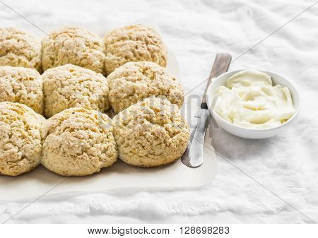 English scones and butter on a light background