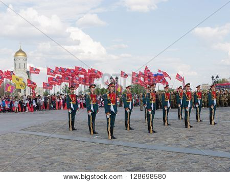 Moscow - May 6 2016: Victory Park on Poklonnaya Hill and 154 soldiers detached commandant of the Preobrazhensky Regiment were on a holiday May 6 2016 Moscow Russia