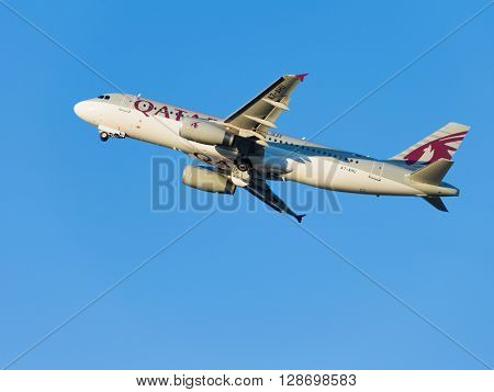 Moscow - August 6 2015: airbas A320-232 Qatar Airways passenger plane landing in Domodedovo airport and on a background of blue sky August 6 2015 Moscow Russia