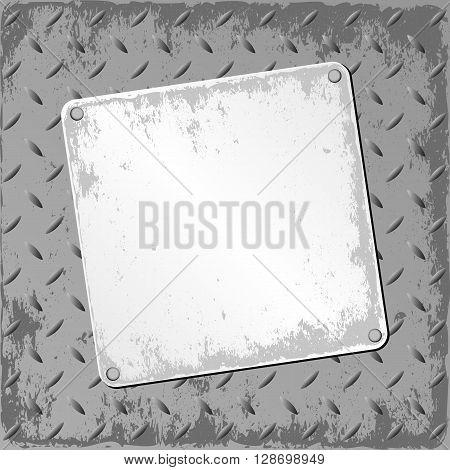 grunge plaque on textured background - vector illustration