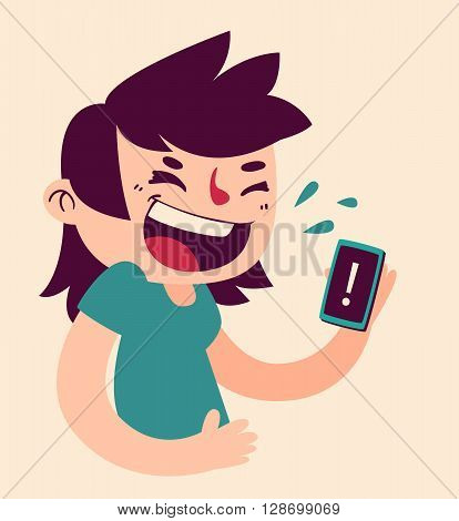 Vector illustration of a cartoon girl laughing looking at the phone with an exclamation point.