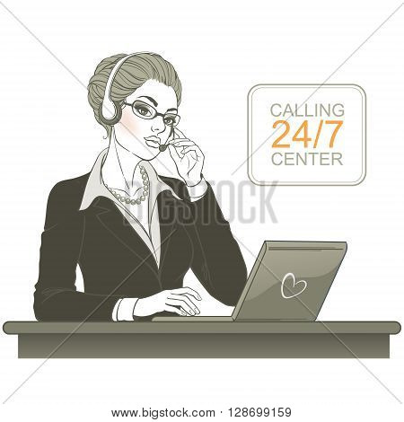 Vector illustration. Attractive young woman. Call center operator with laptop and headsets at workplace. Monochrome graphics isolated on white background