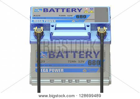 battery car with clamps 3D rendering isolated on white background