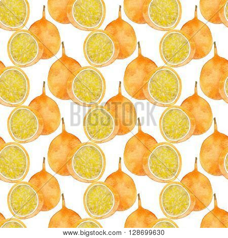 Passion fruit or maracuya. Seamless pattern with fruits - colorful granadilla. Real watercolor drawing.