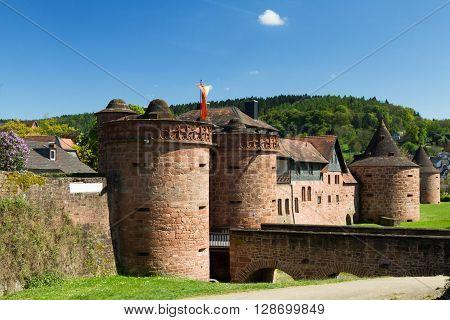 Medieval City Walls of Buedingen with Jerusalemer Tor Hesse Germany