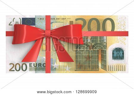 Wad of 200 Euro banknotes with red bow gift concept. 3D rendering