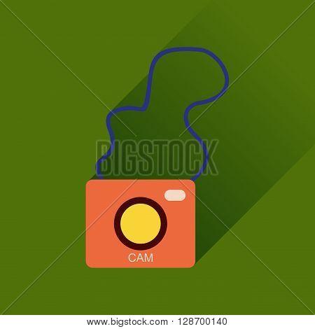 Flat icon with long shadow  retro camera