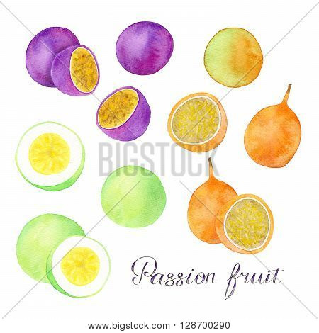 Passion fruit, granadilla or maracuya set. Hand drawn fruits - colorful different maracuyas or passiflora edulis with lettering. Real watercolor drawing.