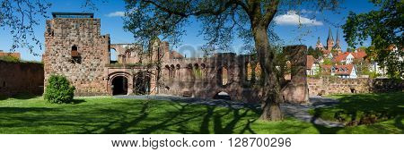 Panorama of the palatinate castle of Gelnhausen Hesse Germany