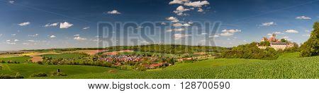 Beautiful hillscape at castle Ronneburg Wetterau Hesse Germany
