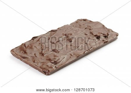 dark chocolate homemade bar with nuts, isoalted on white background
