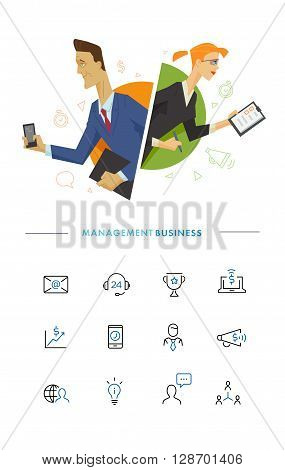 Business male and female user symbol illustration. Flat illustration. Vector eps 10