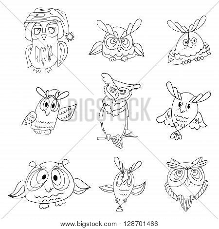Set of nine funny owls, black vector contour isolated on white background