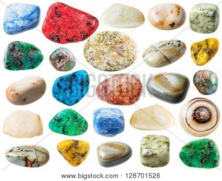 Set Of Agate Natural Mineral Stones And Gemstone