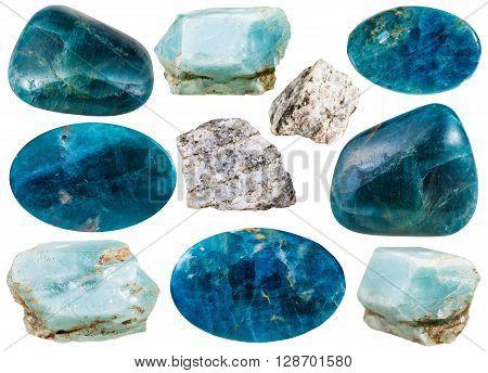 Set Of Various Apatite Natural Mineral Stones