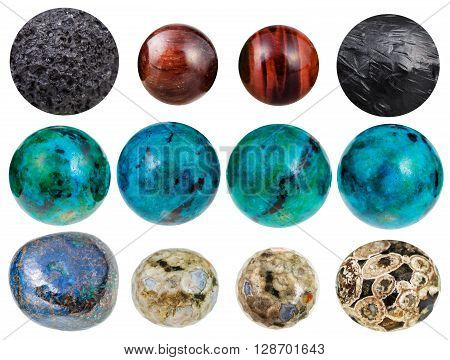 Set Of Balls From Gemstones - Chrysocolla, Etc