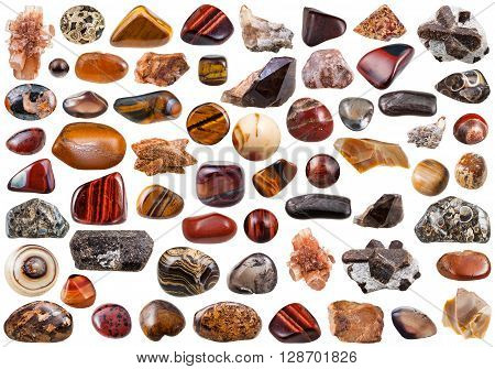 Set Of Brown Mineral Stones And Gemstones