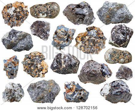 Set Of Various Galenite And Sphalerite Stones