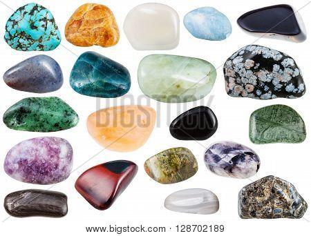 Set Of Various Polished Mineral Gemstones