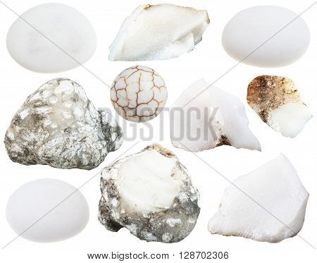 Set Of Various Cacholong (white Opal) Gemstones