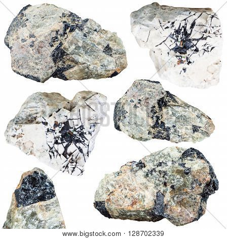 Set Of Ilmenite Ore On Mineral Stones And Rocks