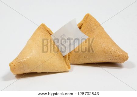 Chinese Fortune Cookie on a plain background