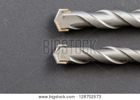 Two Masonry Drill Bits on a plain background