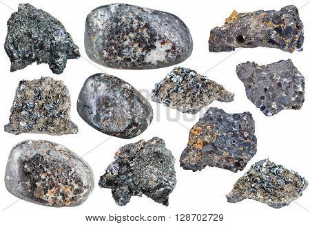 Set Of Various Magnetite Mineral Stones, Rocks