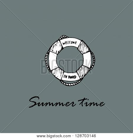 Summer time idea. Lifebuoy and text Summer time