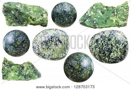 Set Of Various Serpentine Natural Mineral Stones