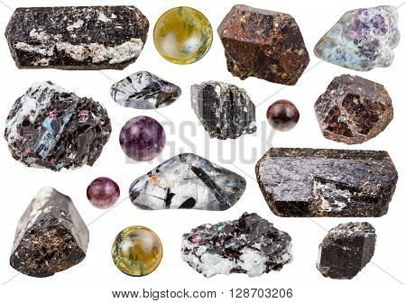 Set Of Various Tourmaline Natural Gemstones
