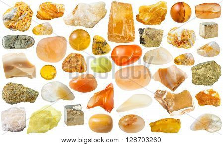 Set Of Yellow Mineral Stones And Gemstones