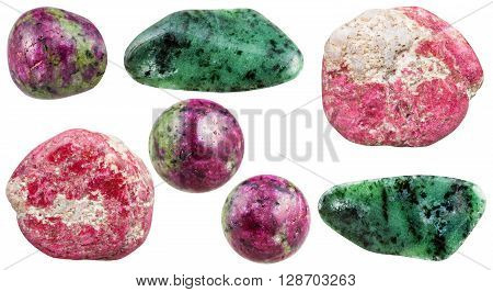 Set Of Various Zoisite Natural Mineral Stones