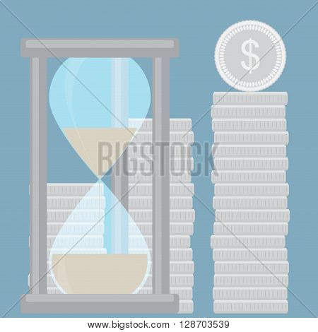 Time is money. Hourglass with silver golden stock. Time management and money clock save time and clock money hourglass money and silver coin financial stock. Vector flat design illustration