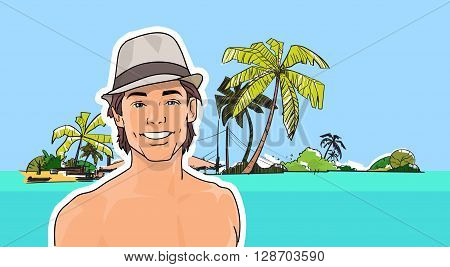 Man In Hat On Beach Sea Shore Tropical Summer Vacation Vector Illustration