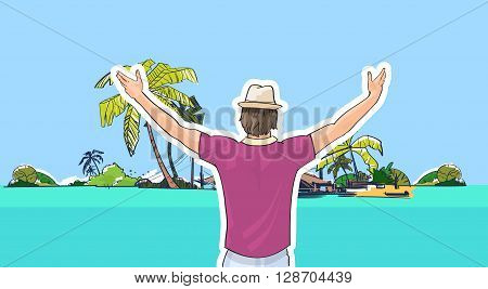 Happy Man In Hat On Beach Sea Shore Hands Up Rear View Tropical Summer Vacation Vector Illustration