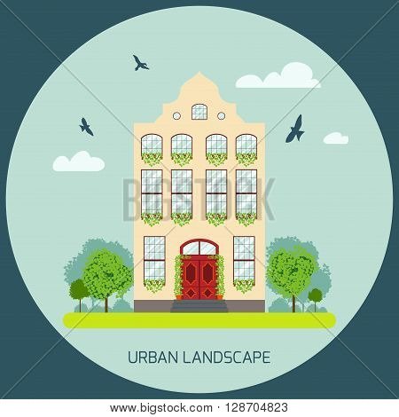 Residential house with a garden. Detailed house icon. Vector illustration of a house facade view. European home in flat style. Landscape with a house trees and flying birds. Urban landscape icon.