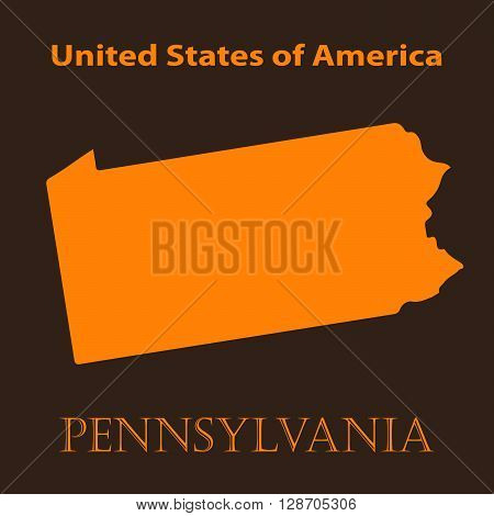Orange Pennsylvania map - vector illustration. Simple flat map of Pennsylvania on a brown background.