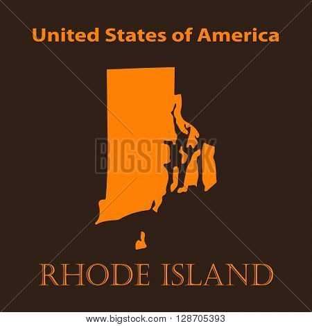 Orange Rhode Island map - vector illustration. Simple flat map of Rhode Island on a brown background.