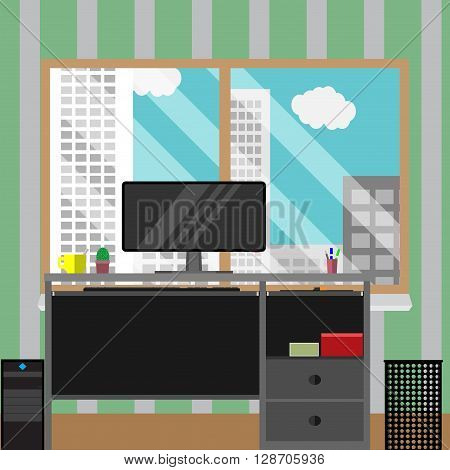 Work place with view window business building. Office place business work. City skyscraper architecture urban design. Vector flat design illustration