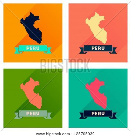 Concept of flat icons with long  shadow Peru map