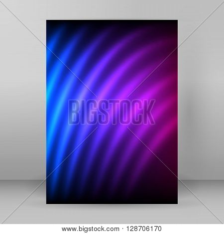Glow Curved Lines Purple Background Magazine Format A4