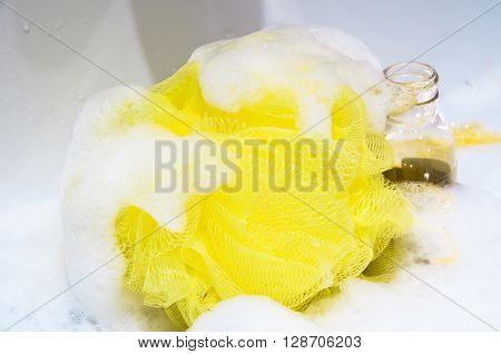 sponge bath wash fluffy wisp soft spa