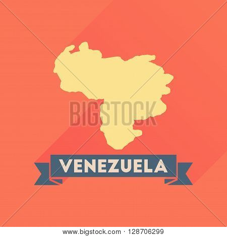 Flat icon with long  shadow map of Venezuela