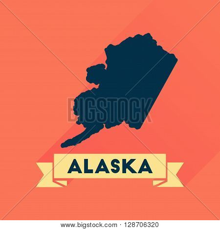 Flat icon with long  shadow Alaska map