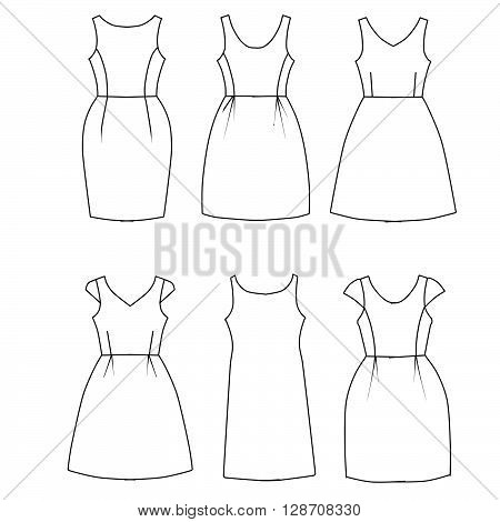 Set of flat sketch fashion template - woman dresses