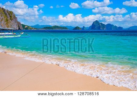 Tropical landscape of sandy beach, Palawan, Philippines, Southeast Asia